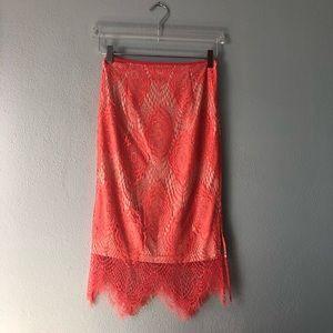🌸 Boutique | Coral lace skirt